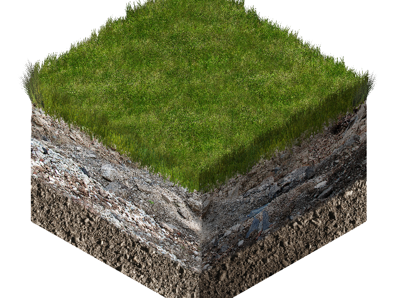 3D Isometric Soil And Grass Cube Cross Section Stock Image Free