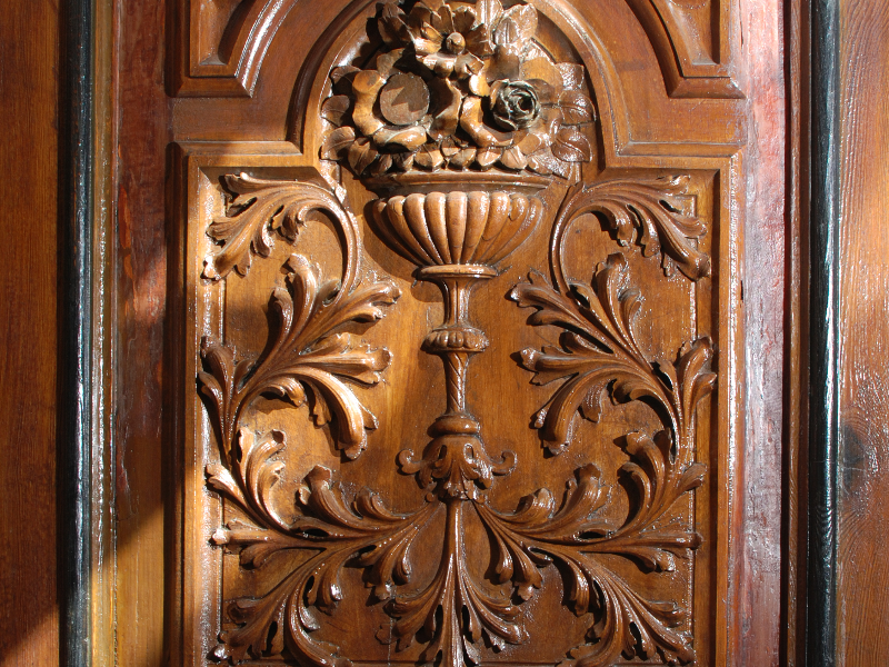 Antique Carved Wood Furniture Door Texture