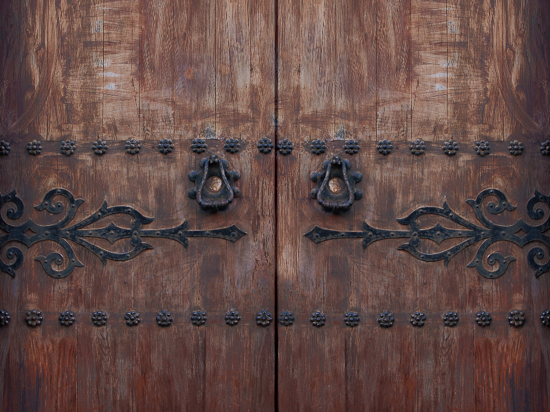 Antique Wood Front Door With Iron Hinges Texture