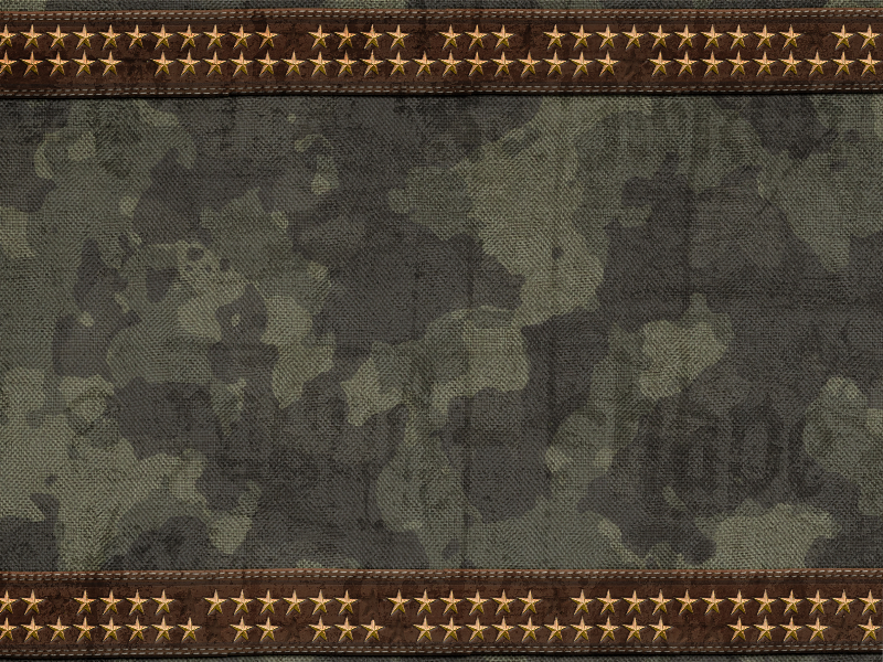 Combat Military Camouflage Texture With Stitched Leather And Golden Stars