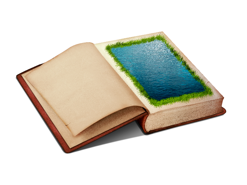 Open Book PNG Clipart With Water Page And Grass Border