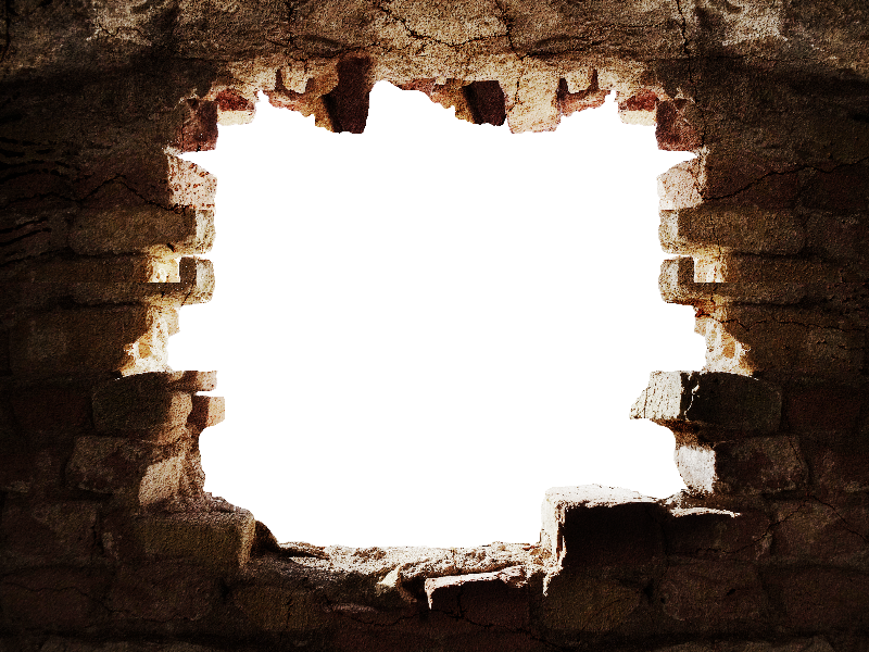 Broken Stone Wall With Hole PNG Background