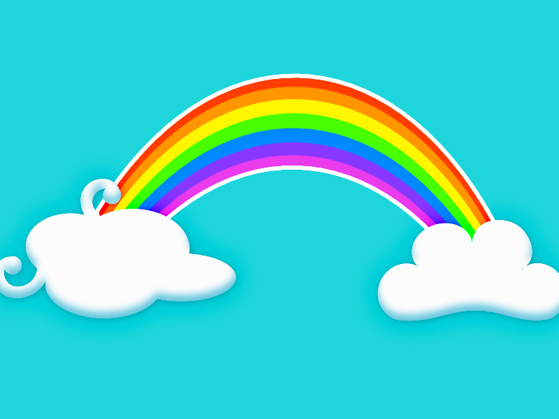 Cartoon Rainbow With Funny Clouds Background