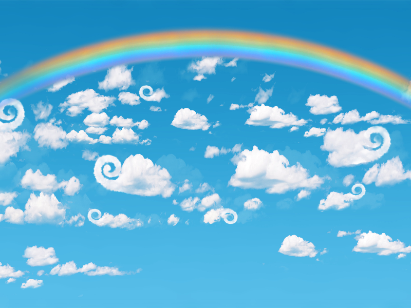 Cartoon Sky Background With Rainbow For Photoshop