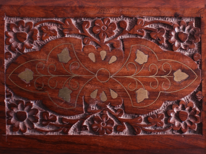 Carved Wood Box Texture With Floral Ornaments