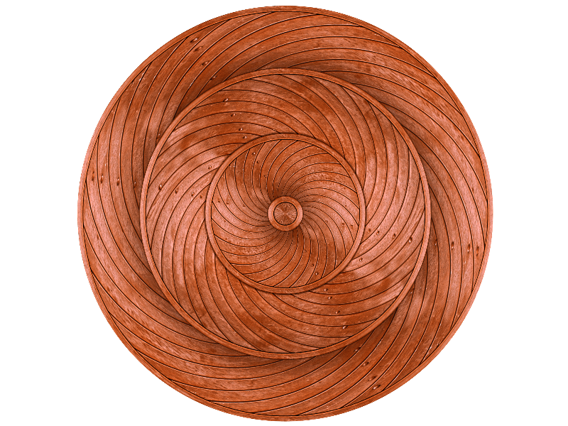 Carved Wood Circle Shield PNG