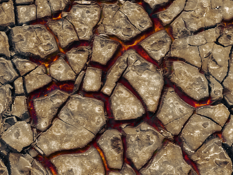 Cracked Mud Surface With Hot Lava Texture Ground Dirt And