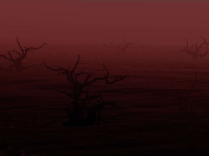 Creepy Bloody Water With Dead Trees Horror Fantasy Background