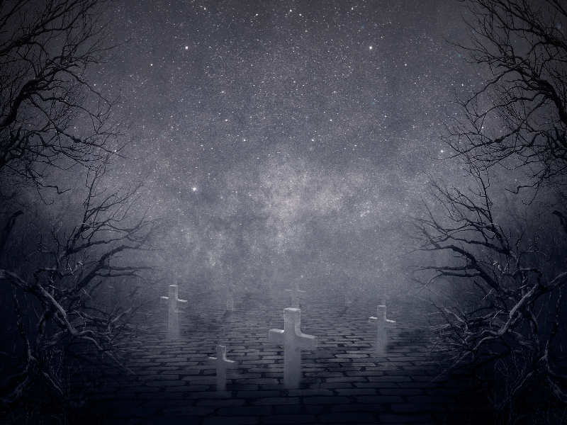 Creepy Night Horror Graveyard Background Free