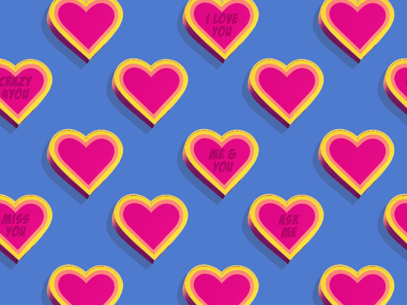 Cute Pattern With Heart Icons