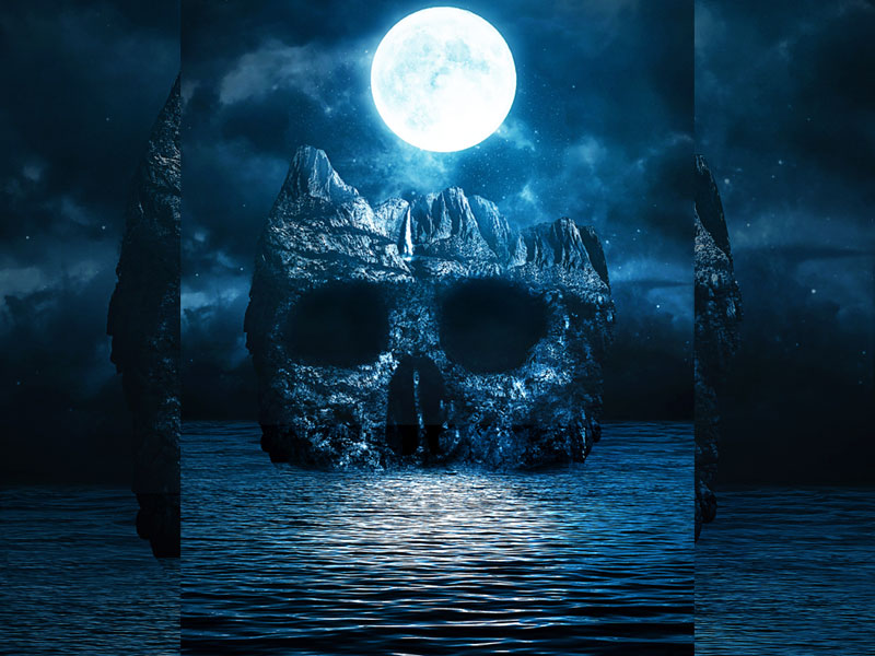 Dark Horror Background For Photoshop With Moonlight Skull Island