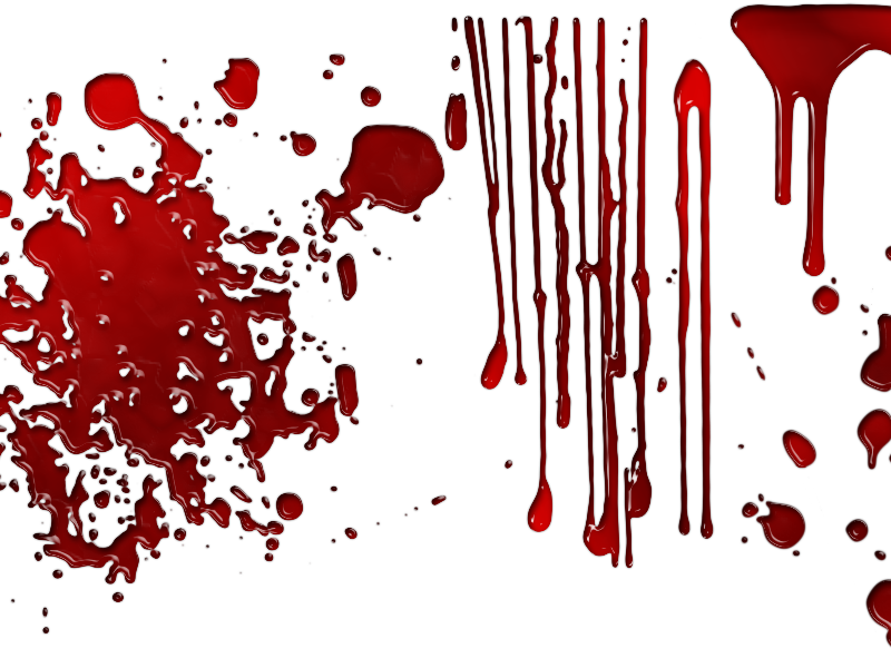 Dripping Blood Overlay with Drops Splashes PNG Transparent Background