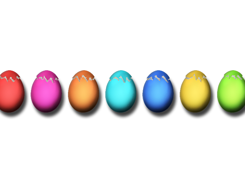 Easter Painted Eggs Cracked PNG