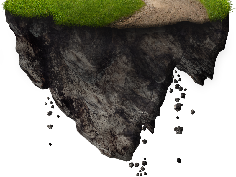 Floating Island With Falling Rocks PNG Free Image