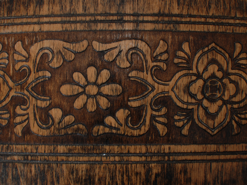Floral Carved Wood Texture Free Download