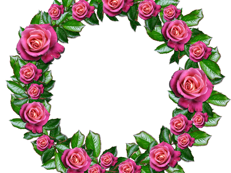 Floral Wreath Png With Pink Roses And Leafs