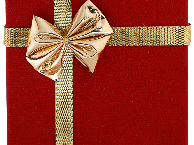 Gift Box With Golden Ribbon PNG