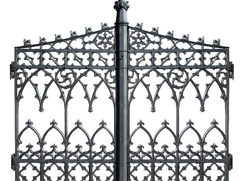 Gothic  Black Iron Gate Door PNG Stock Image