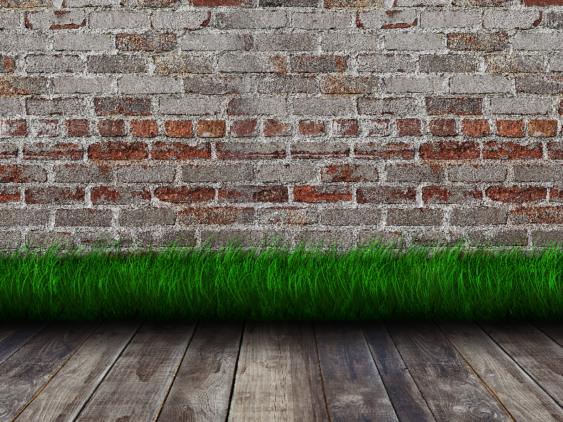 Green Grass Room Interior With Wooden Floor And Bricks