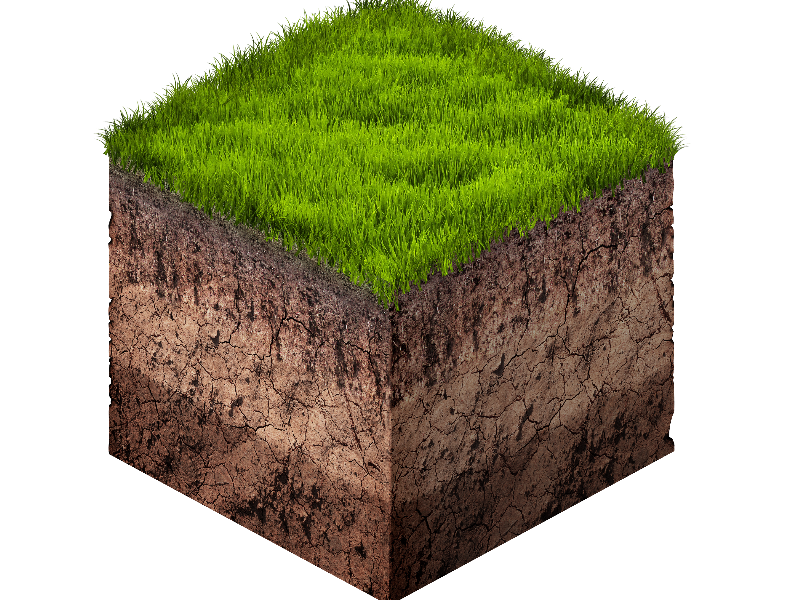 Earth Ground and Grass Cube Cross Section Isometric Free Stock Image