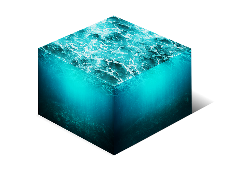 Isometric Water Cube 3D Cross Section Png Stock Photo (Water