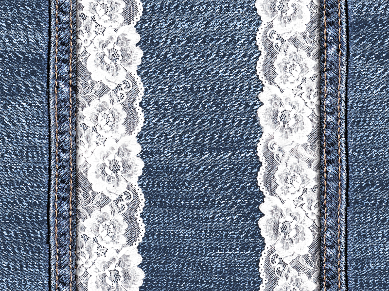 Jeans Texture With White Lace Border Free Download