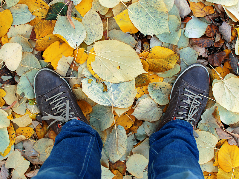 Man Feet On Fallen Leaves Stock Photo
