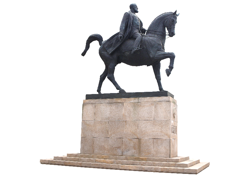 Man Riding Horse Statue PNG