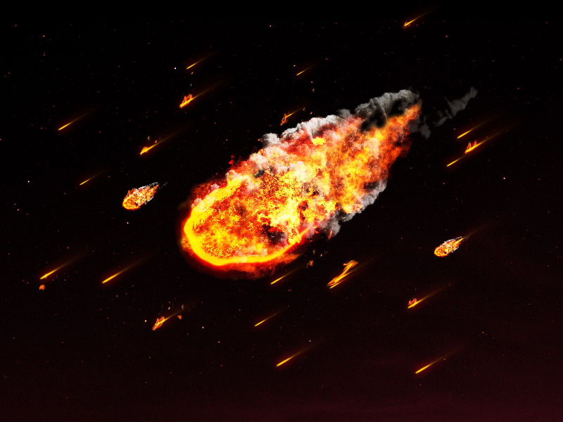 Meteor On Fire with Comet Shower Texture Background