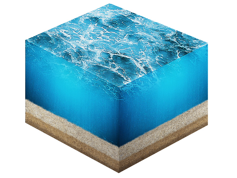 Ocean Cross Section with Water and Sand PNG
