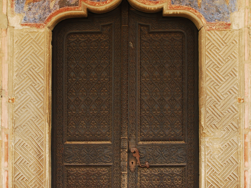 Old Byzantine Church Wood Sculpted Door