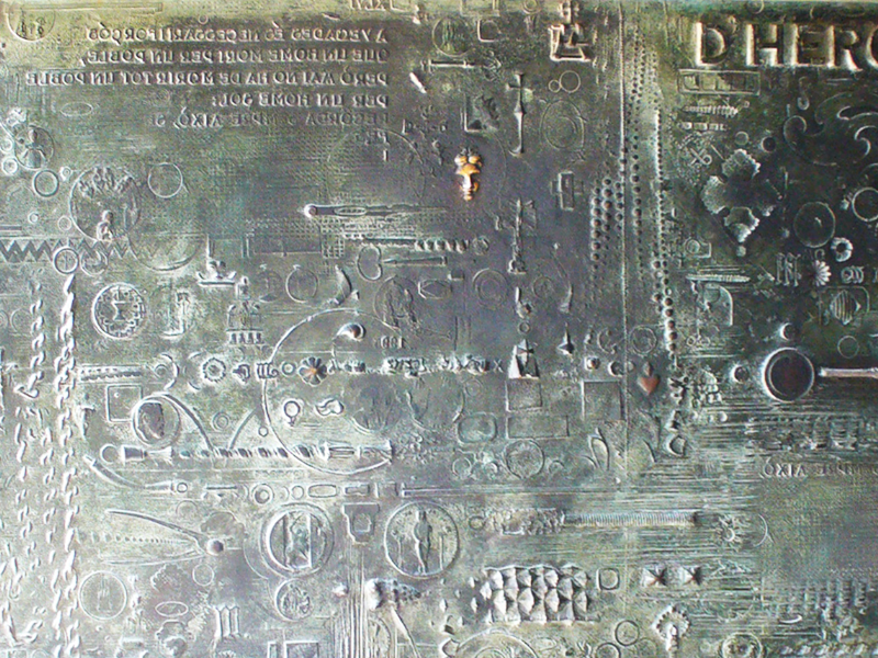 Old Hieroglyphics Embossed Bronze Metal Texture