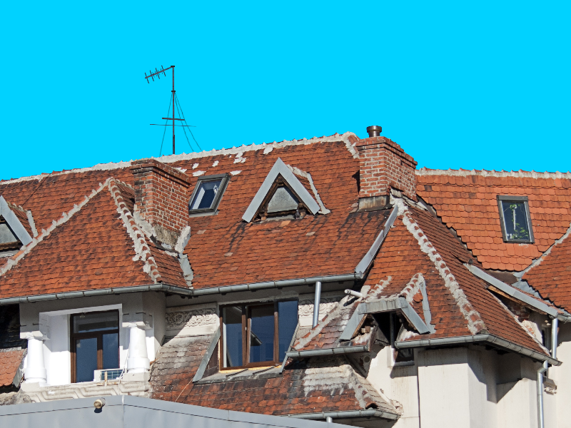 Old House Roofs With Red Tiles PNG Cut