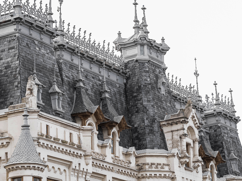 Palace with Decorative Roof Ornaments Stock Photo