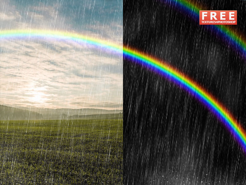 Photoshop Rainbow Overlay With Rain Effect Free text effect
