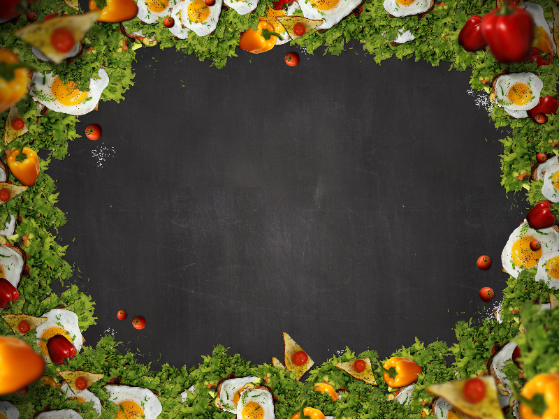 Restaurant Food Frame With Chalkboard Background