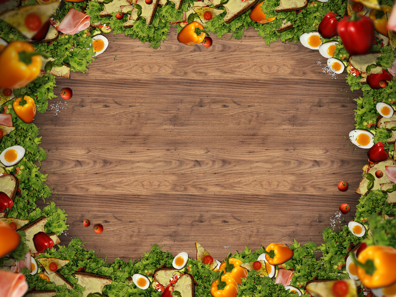 Restaurant Food Frame With Rustic Wood Background Free