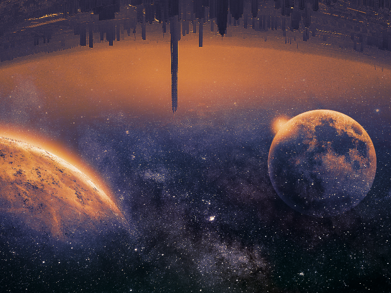 Sci Fi City Background with Galaxy Space Texture Free