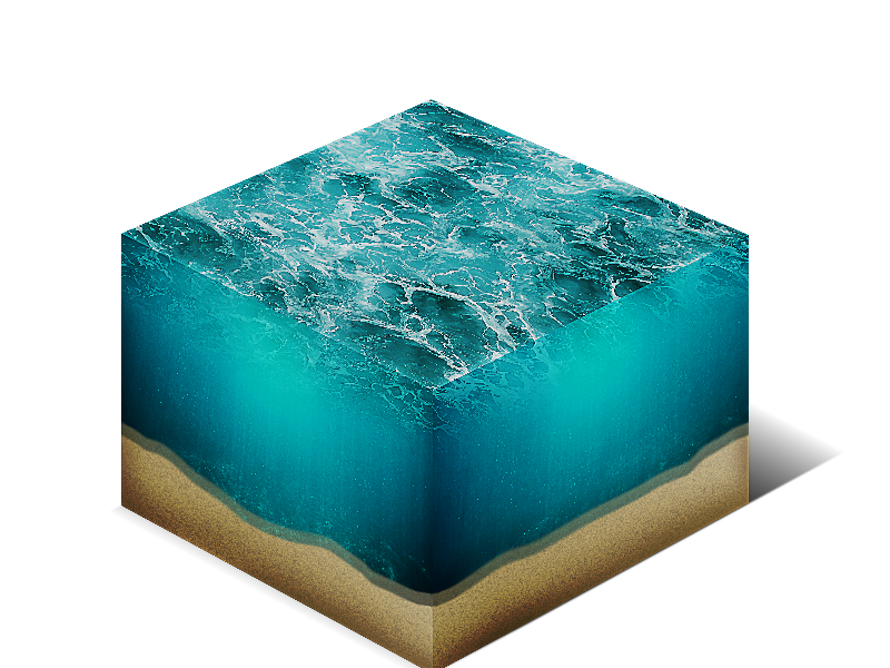 Sea Water Cube Cross Section Isometric Png Stock Image