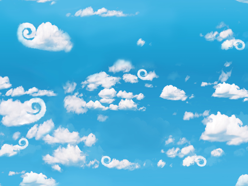 Seamless Sky Background With Fluffy Clouds