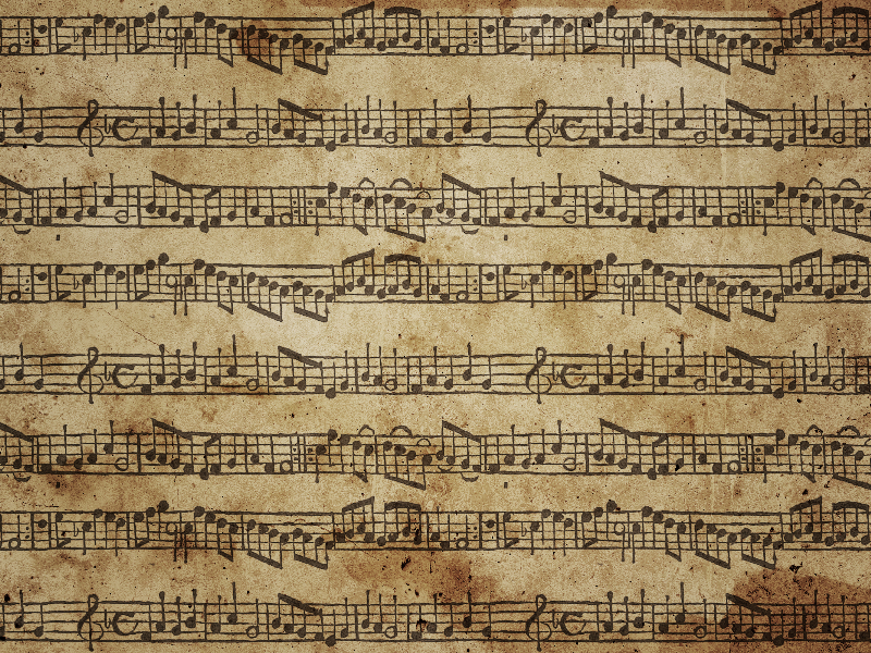 Sheet Music Background With Grunge Stained Paper