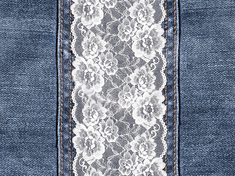 Lace Texture and Stitched Denim Jeans Free Download
