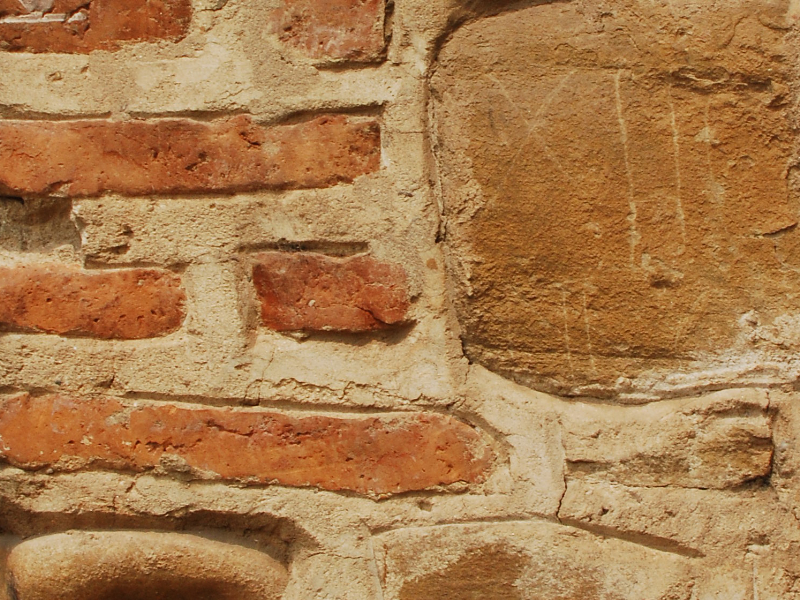 Stone with Thin Orange Bricks Old Wall Texture Free