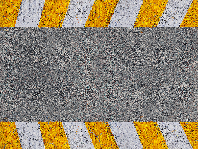 Striped Road Markings On Asphalt Texture With Cracks