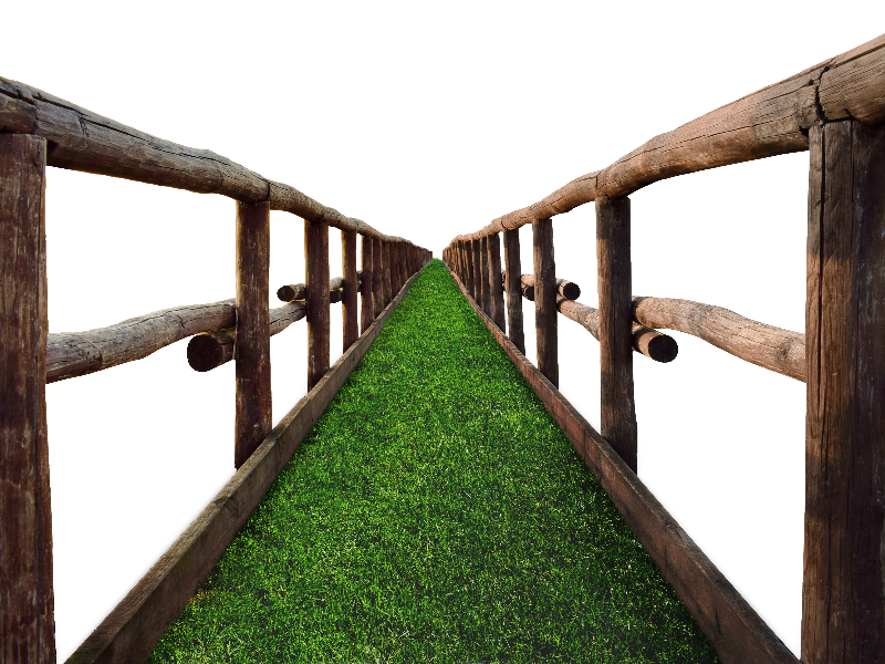 Timber Bridge PNG with Grass Stock Image