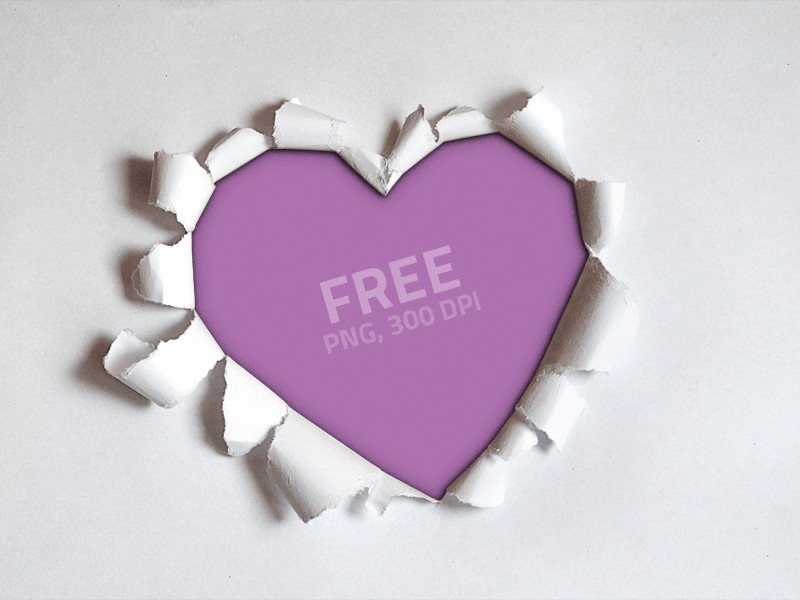 Torn Paper Heart Shape PNG Free