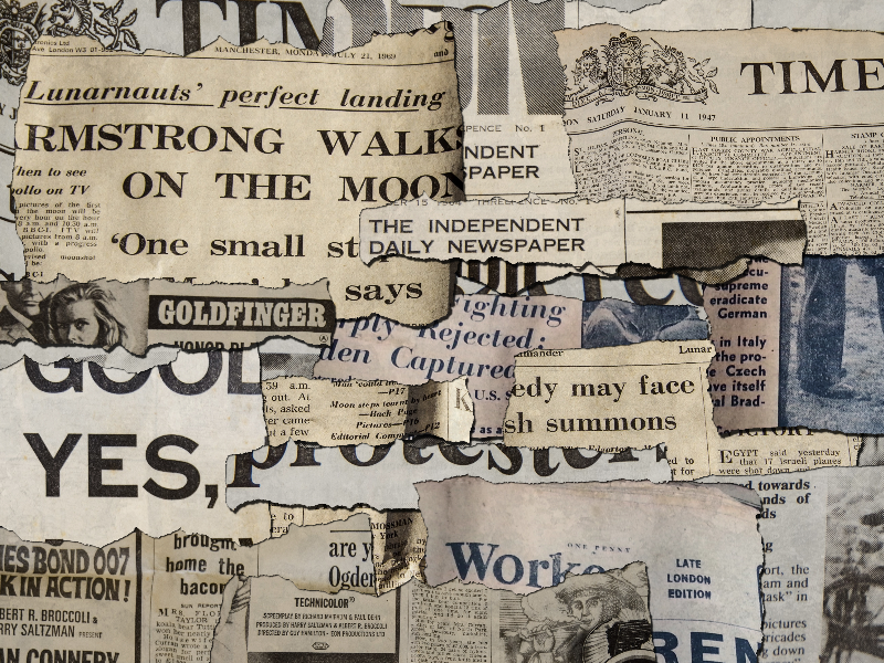 Torn Paper Pieces Newspaper Collage Texture
