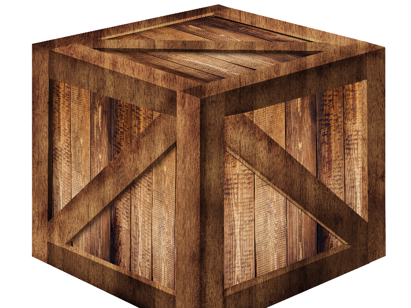 3D Wooden Box PNG Free