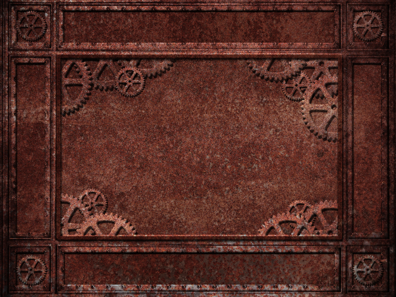 Steampunk Frame Background With Rusty Metal Texture And Machine Gear